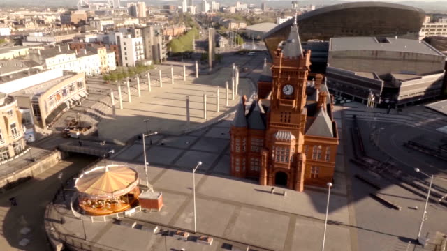 aerial cardiff bay - dahl stock videos and b-roll footage