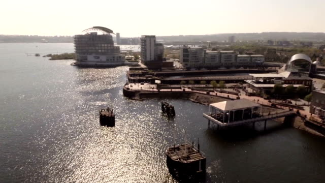 aerial cardiff bay - cardiff wales stock videos & royalty-free footage