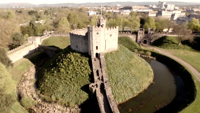 aerial cardiff castle - moat stock videos and b-roll footage