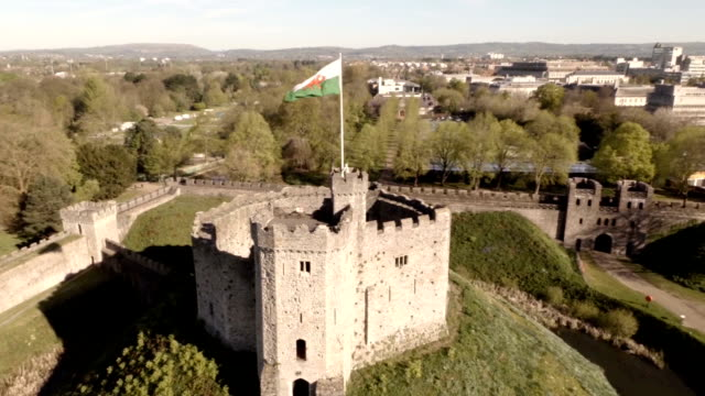 aerial cardiff castle - cardiff wales stock videos & royalty-free footage