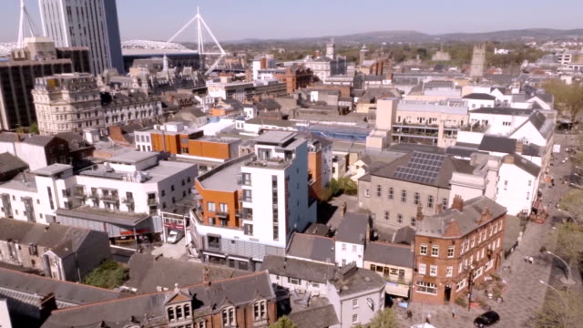 aerial cardiff centre - cardiff wales stock videos & royalty-free footage