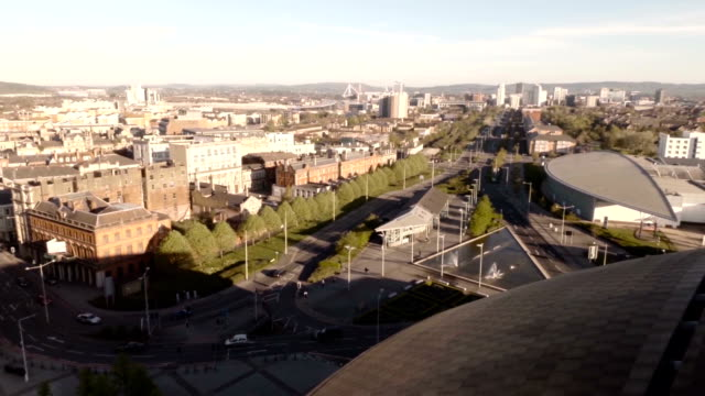 aerial cardiff city centre - cardiff wales stock videos & royalty-free footage