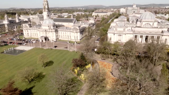 aerial cardiff city hall and national museum - museum stock videos & royalty-free footage