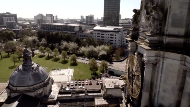 aerial cardiff city hall clock tower. - cardiff wales stock videos & royalty-free footage