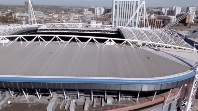 aerial cardiff millennium stadium (now principality stadium) - cardiff wales stock videos & royalty-free footage