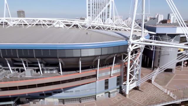 aerial cardiff millennium stadium (now principality stadium) - millennium stadium stock videos & royalty-free footage