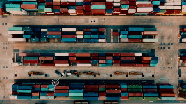 aerial cargo container in port - truck stock videos & royalty-free footage