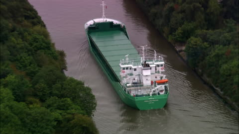 aerial cargo ship in manchester ship canal/ manchester, england - canal stock videos & royalty-free footage