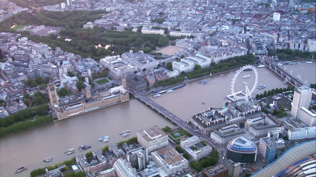 hd aerial central london, uk - houses of parliament london stock videos & royalty-free footage