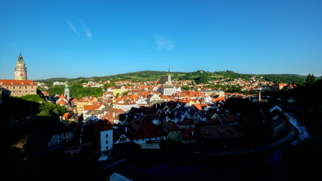 aerial cesky krumlov old town at dusk czech republic - non us location stock videos & royalty-free footage
