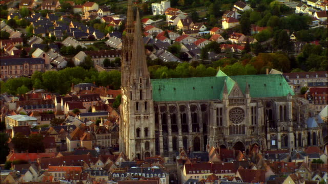 aerial ws chartres cathedral and surrounding town / chartres, centre, france - cathedral stock videos & royalty-free footage