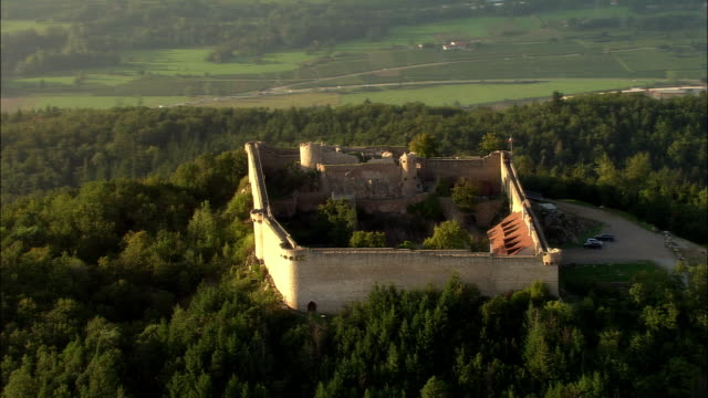 Aerial WS Chateau du Hohlandsbourg and surrounding fort atop hill  near Colmar / Haut-Rhin, Alsace, France