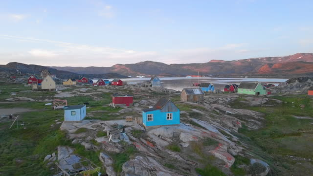 aerial circling: colorful houses by picturesque bay, disko bay, greenland - greenland stock videos & royalty-free footage