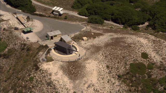 aerial circling lighthouse / aerial Olivers Hill gun battery various aerials Rottnest Island coastline