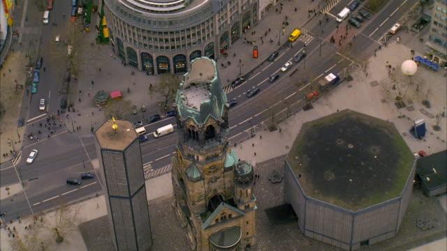 aerial circling over kaiser wilhelm memorial church (gedaechtniskirche) / berlin - pedestrian stock videos & royalty-free footage
