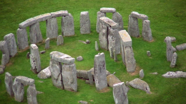 aerial circling over stonehenge / england - elevated view stock videos & royalty-free footage