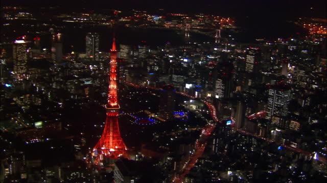 Aerial circling Tokyo Tower at night/ Tokyo / November 16, 2005