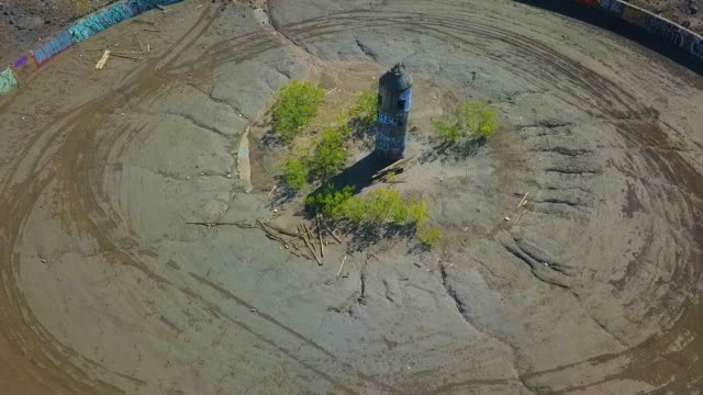 aerial: circular concrete wall - nevada stock videos & royalty-free footage