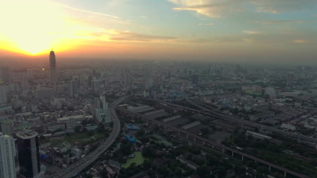 Aerial city at sunset