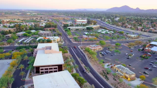 aerial: city layout of the scottsdale arizona - arizona stock videos & royalty-free footage