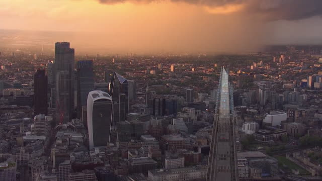 aerial city of london at dusk - aerial view stock videos & royalty-free footage