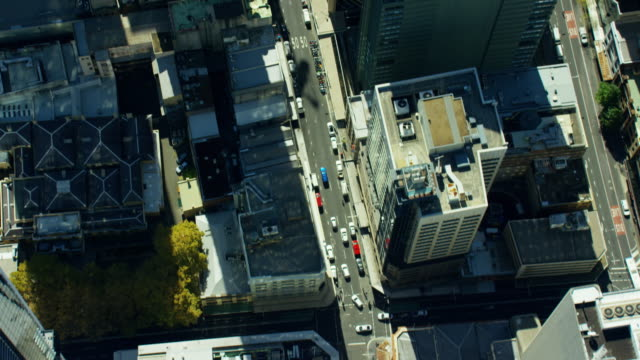 aerial city skyscraper vertical view of sydney australia - pacific war stock-videos und b-roll-filmmaterial
