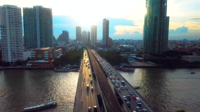 aerial city view at sunset - flowing water stock videos & royalty-free footage
