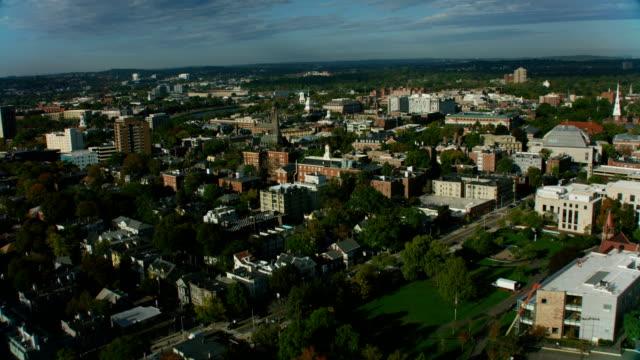 vídeos de stock, filmes e b-roll de aerial city view boston eliot house library massachusetts - massachusetts