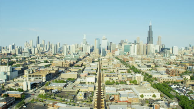 aerial city view of chicago sears tower skyscraper - illinois stock videos and b-roll footage
