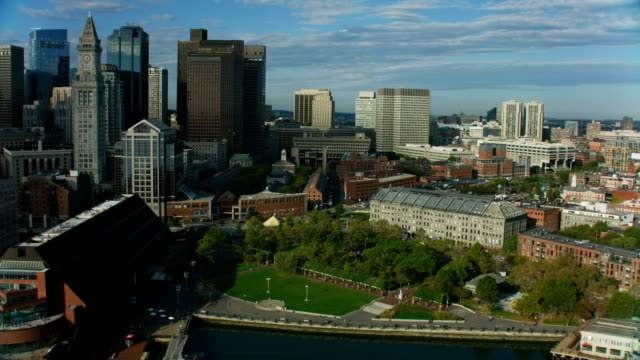 aerial city view quincy market downtown boston america - massachusetts stock videos & royalty-free footage