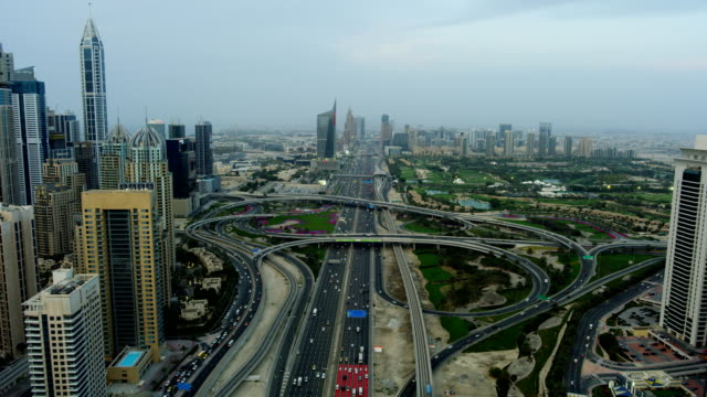 Aerial city view Sheikh Zayed road intersection Dubai
