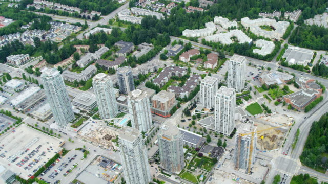 aerial city view vancouver city residential condominium apartments - house rental stock videos & royalty-free footage