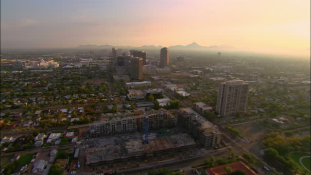 aerial cityscape and horizon/ phoenix, arizona - arizona stock videos & royalty-free footage