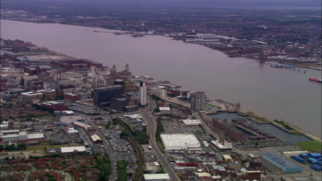 aerial cityscape and mersey/ liverpool, england - merseyside stock videos & royalty-free footage