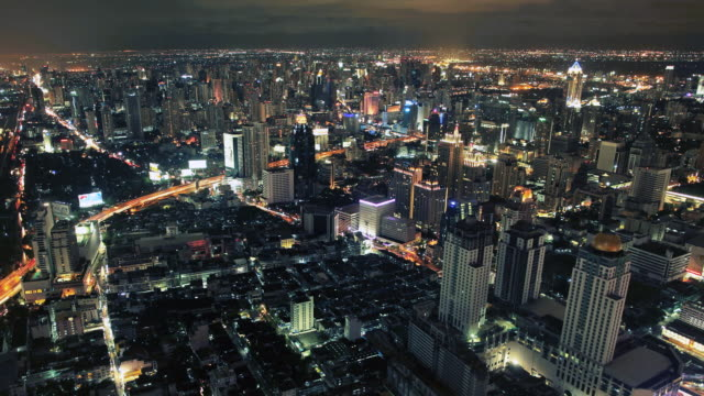 t/l  aerial cityscape at night/bangkok - classical chinese garden stock videos & royalty-free footage