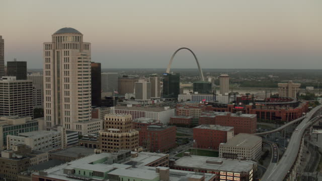 aerial cityscape in downtown st louis - missouri stock videos and b-roll footage