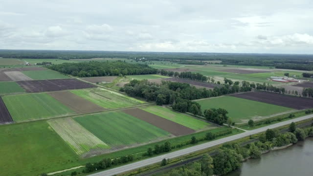 aerial cityscape landscape view of farmland , ontario, canada - ontario canada stock videos & royalty-free footage