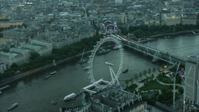 aerial cityscape night view river thames london uk - millennium wheel stock videos & royalty-free footage
