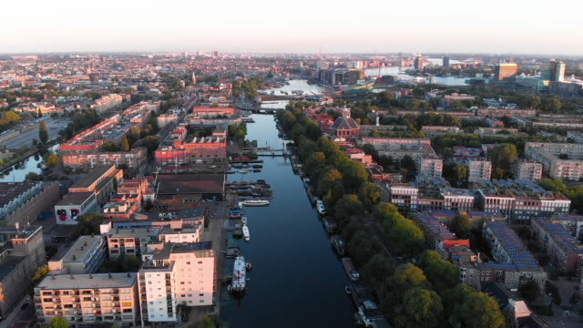 aerial cityscape of amsterdam - canal stock videos & royalty-free footage