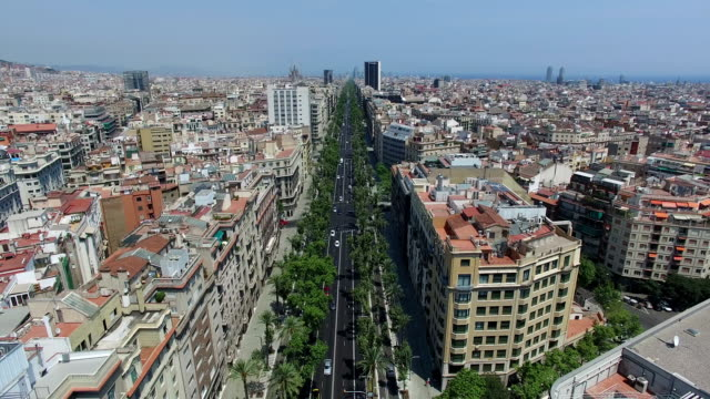 Aerial Cityscape of Barcelona, Spain