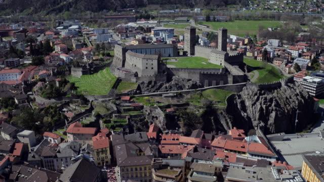 aerial cityscape of bellinzona, switzerland - switzerland stock videos & royalty-free footage