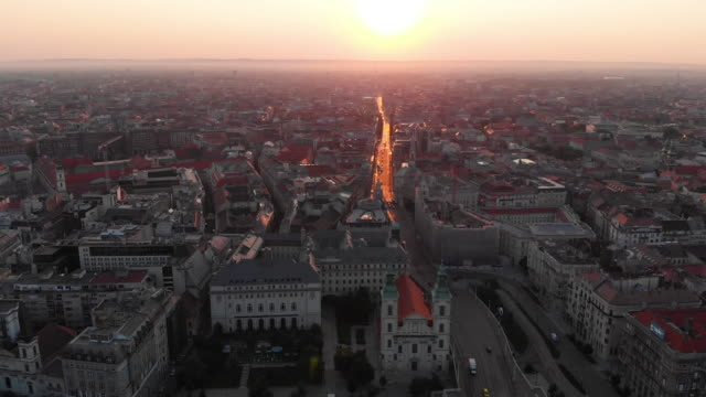 aerial cityscape of budapest at sunrise - traditionally hungarian stock videos & royalty-free footage