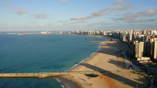 aerial cityscape of fortaleza, ceara, brazil - mar stock videos & royalty-free footage