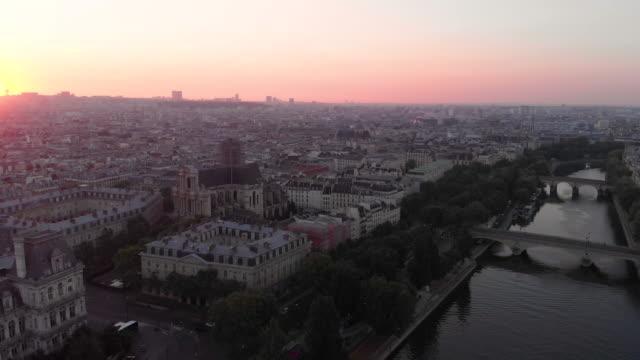 Aerial cityscape of Paris at sunrise