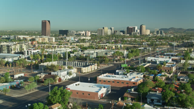 aerial cityscape of phoenix, arizona - arizona stock videos & royalty-free footage
