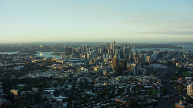 aerial cityscape view at sunset of sydney australia - downtown stock videos & royalty-free footage