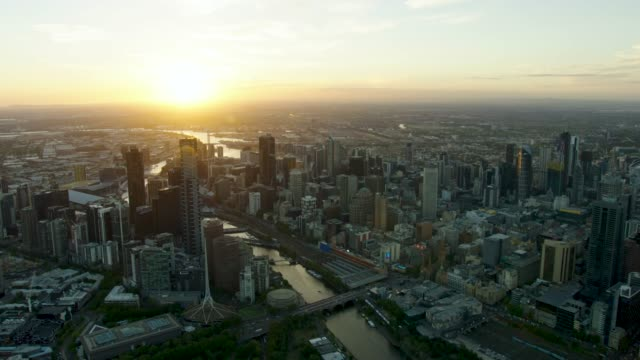 aerial cityscape view evening sunset over melbourne cbd - viewpoint stock videos & royalty-free footage