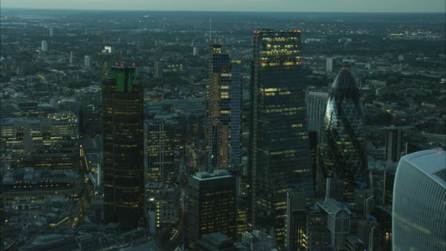 aerial cityscape view of walkie talkie building london - dusk stock videos & royalty-free footage