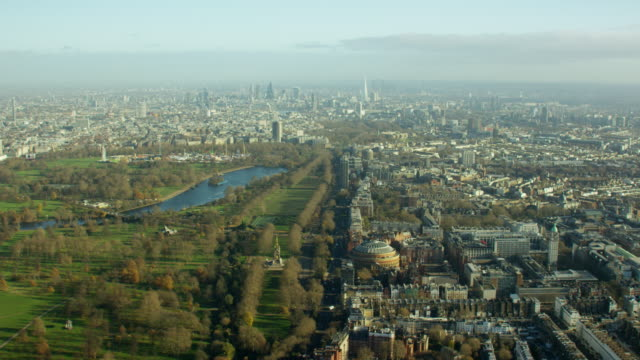 aerial cityscape view over city of london uk - royal albert hall stock videos & royalty-free footage
