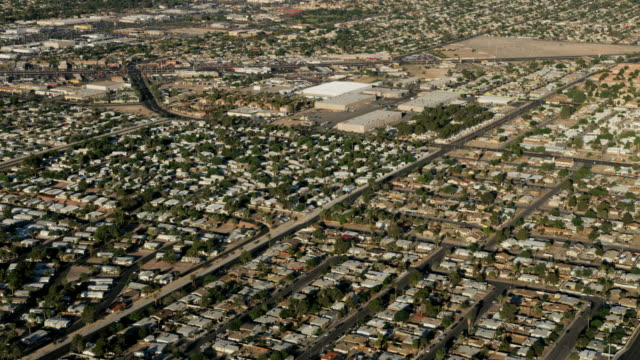 aerial cityscape view suburban desert homes las vegas - nevada stock-videos und b-roll-filmmaterial